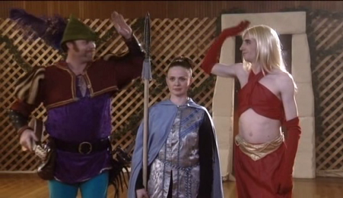 Still from The Gamers 2 - Dorkeness Rising, the horny bard and slutty sorceress high-five