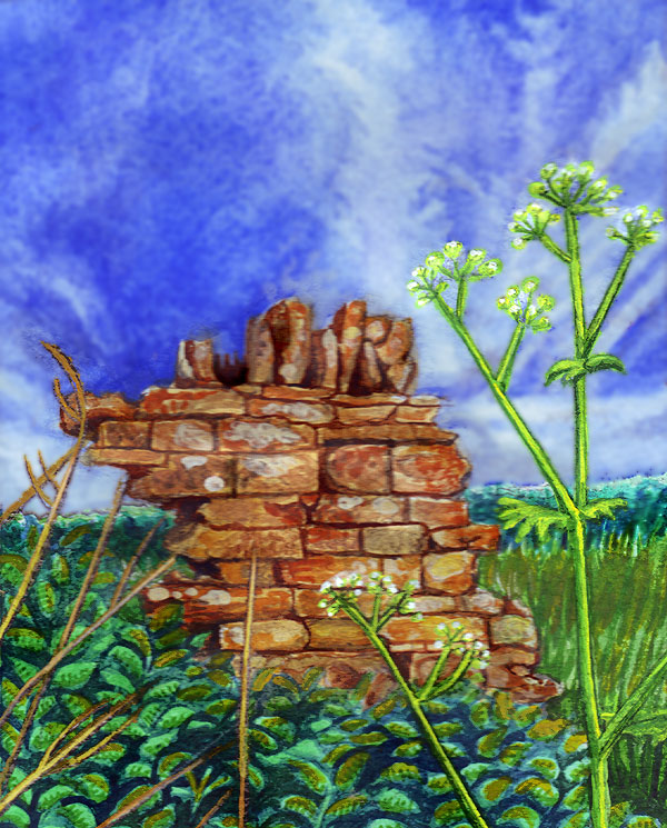 Ruined Wall watercolour painting by Amy Letts